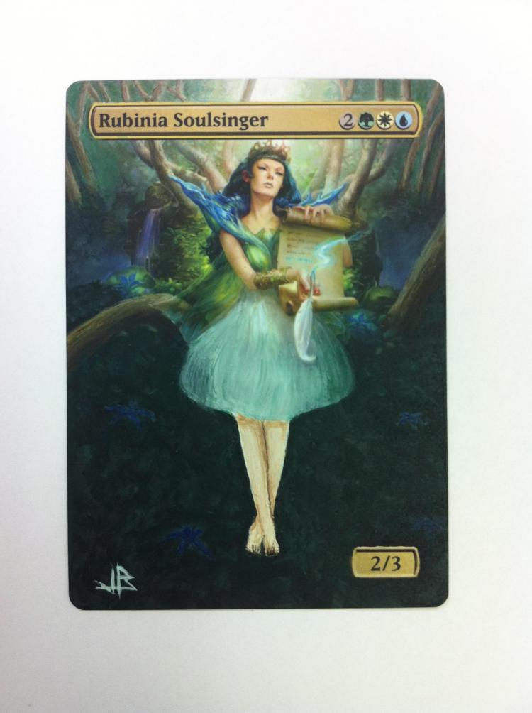 Rubinia Soulsinger card alter by JB Alterz