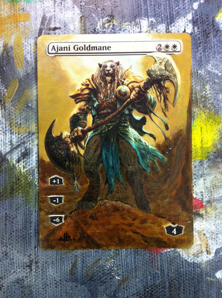 Ajani Goldmane card alter by JB Alterz