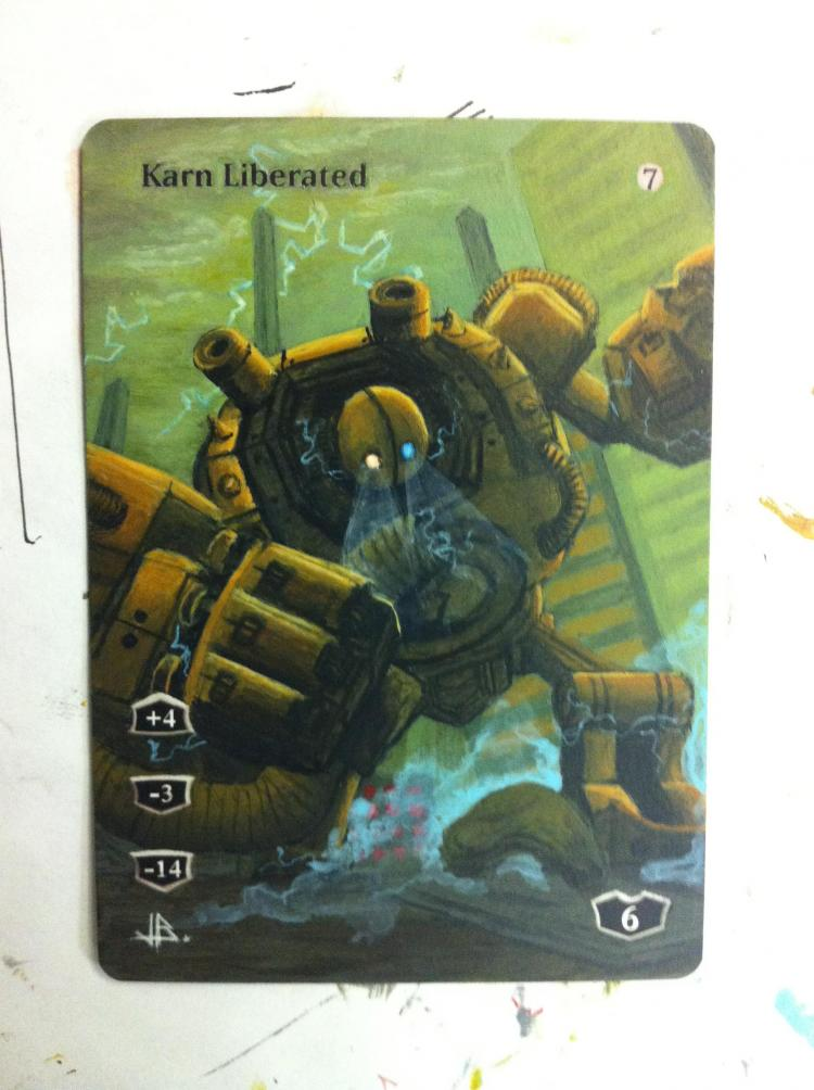 Karn Liberated card alter by JB Alterz