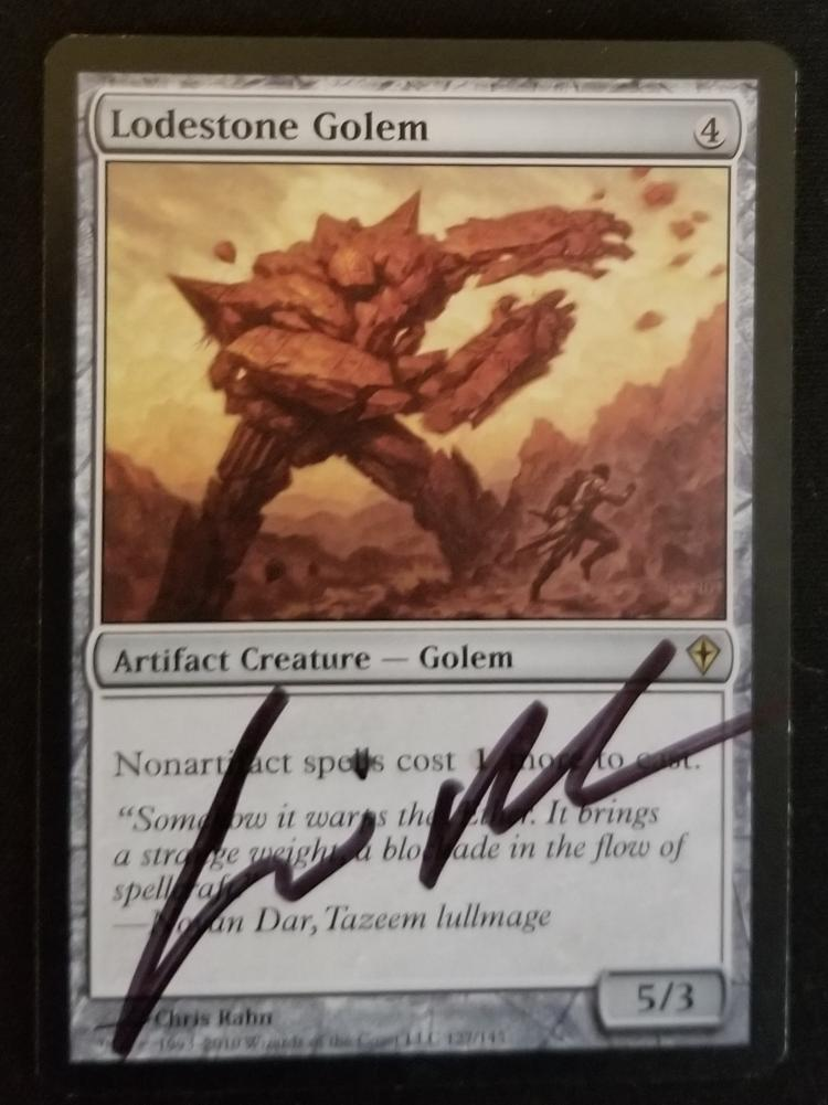 Lodestone Golem card alter by kmotquin
