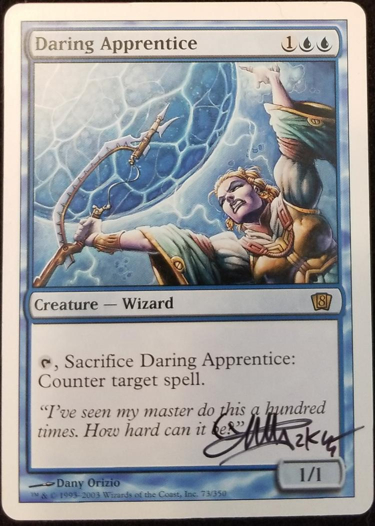 Daring Apprentice card alter by kmotquin