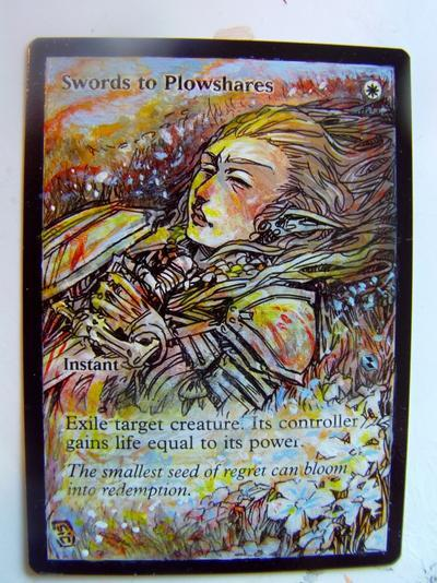Swords to Plowshares card alter by seesic