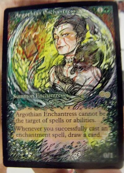 Argothian Enchantress card alter by seesic