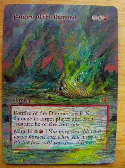 Bonfire of the Damned card alter by seesic