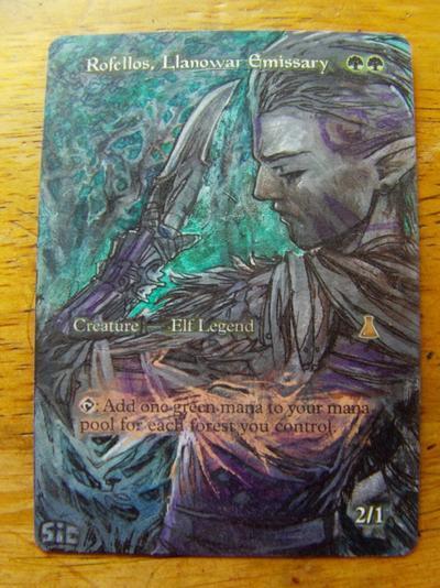 Rofellos, Llanowar Emissary card alter by seesic