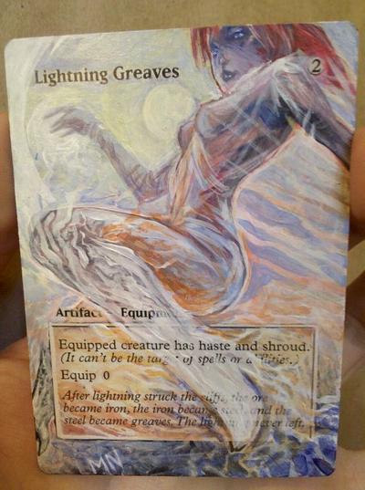 Lightning Greaves card alter by seesic