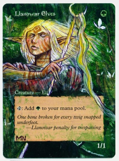 Llanowar Elves card alter by seesic
