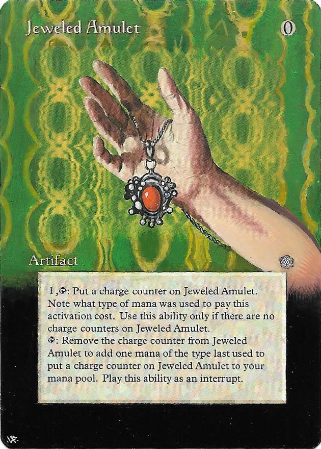 Jeweled Amulet card alter by Hedon