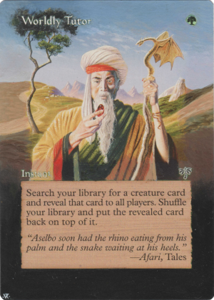 Worldly Tutor Card Alter by Hedon