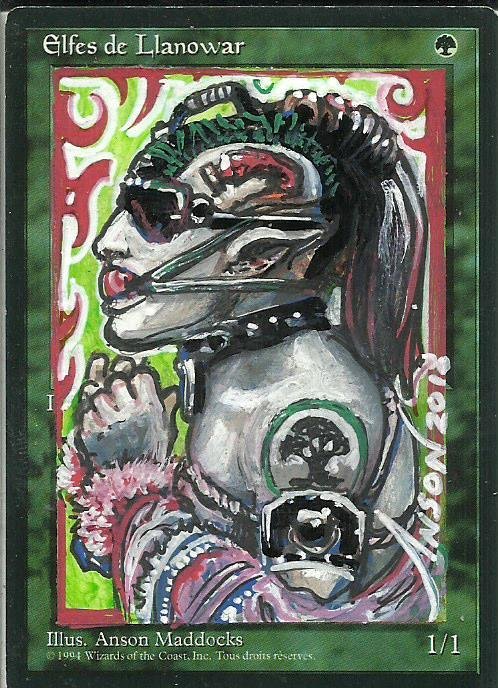 Llanowar Elves card alter by
