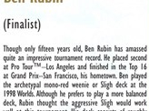 1998 Ben Rubin Biography Card