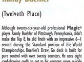 1998 Randy Buehler Biography Card