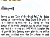 1999 Kai Budde Biography Card