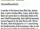 2001 Antoine Ruel Biography Card