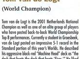 2001 Tom van de Logt Biography Card