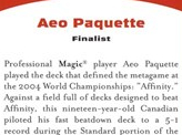 2004 Aeo Paquette Biography Card