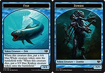 Fish // Zombie (Blue) Double-sided Token