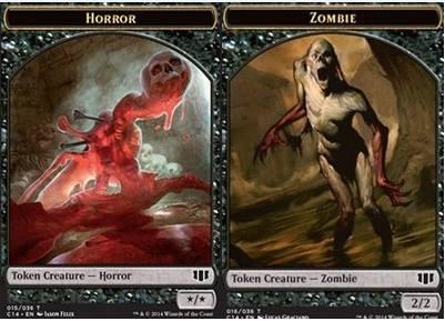 Horror // Zombie (Black) Double-sided Token