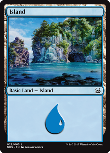 Island (28) card from Duel Decks: Mind vs. Might
