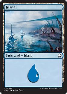 Island (73) card from Duel Decks: Elves vs. Inventors