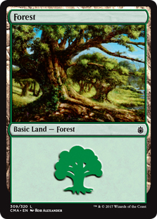 Forest (309) card from Commander Anthology