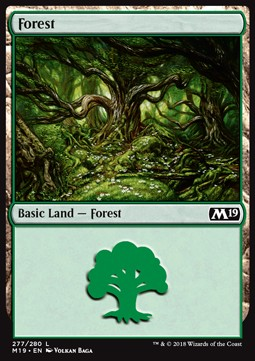 Forest (277) card from Core Set 2019