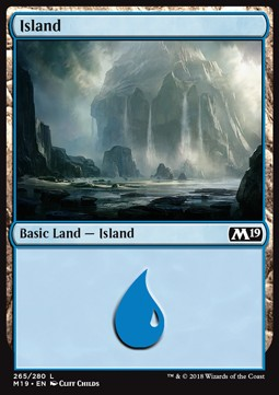 Island (265) card from Core Set 2019