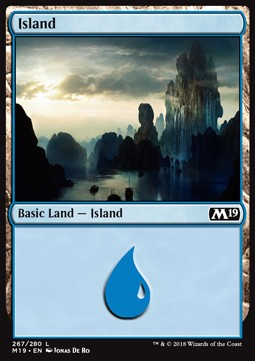Island (267) card from Core Set 2019