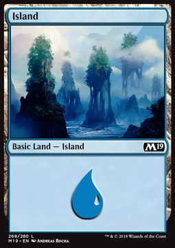 Island (268) card from Core Set 2019
