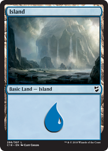 Island (296) card from Commander 2018
