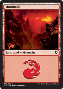 Mountain (302) card from Commander 2018