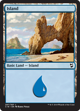 Island (297) card from Commander 2018