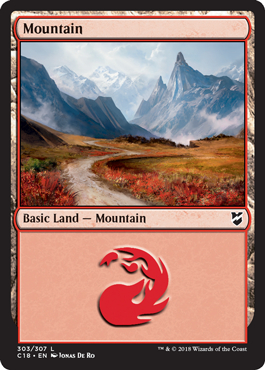 Mountain (303) card from Commander 2018