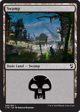 Swamp (300) card from Commander 2018