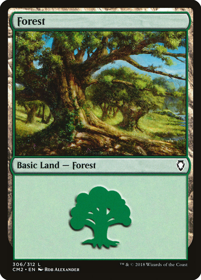 Forest (306) card from Commander Anthology Volume II