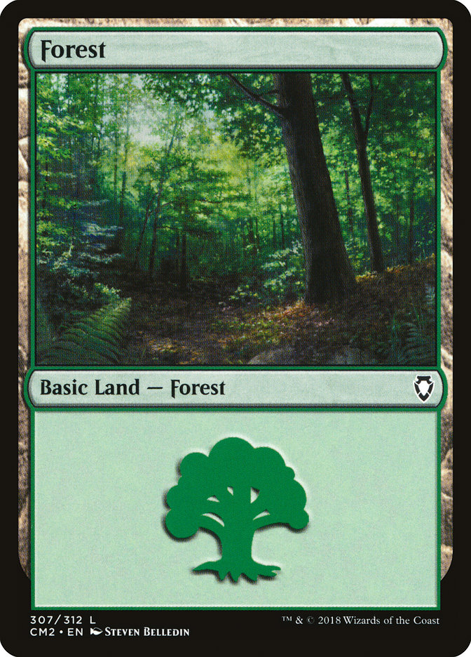 Forest (307) card from Commander Anthology Volume II
