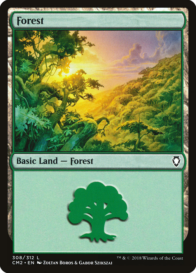Forest (308) card from Commander Anthology Volume II