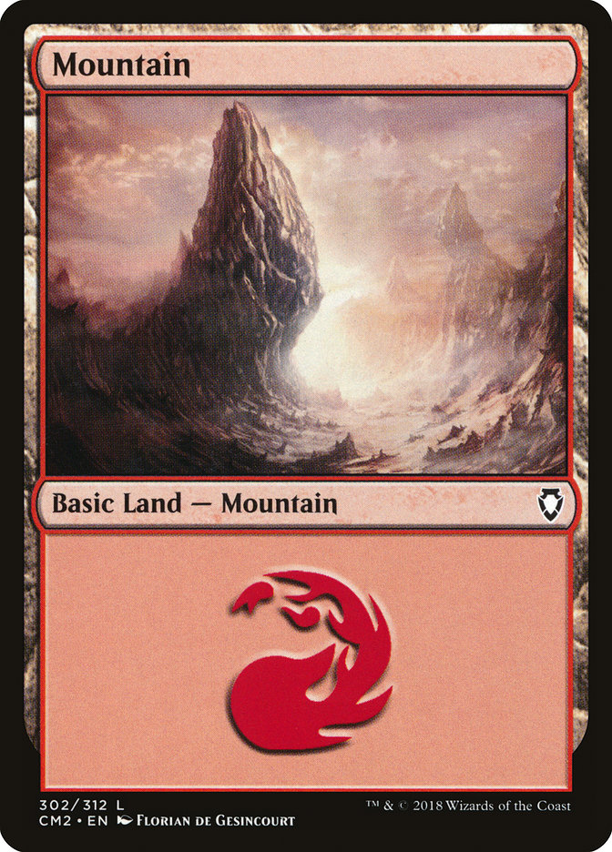 Mountain (302) card from Commander Anthology Volume II