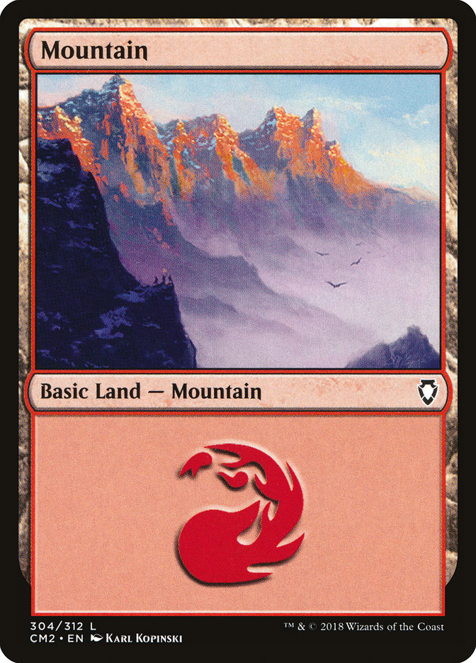 Mountain (304) card from Commander Anthology Volume II