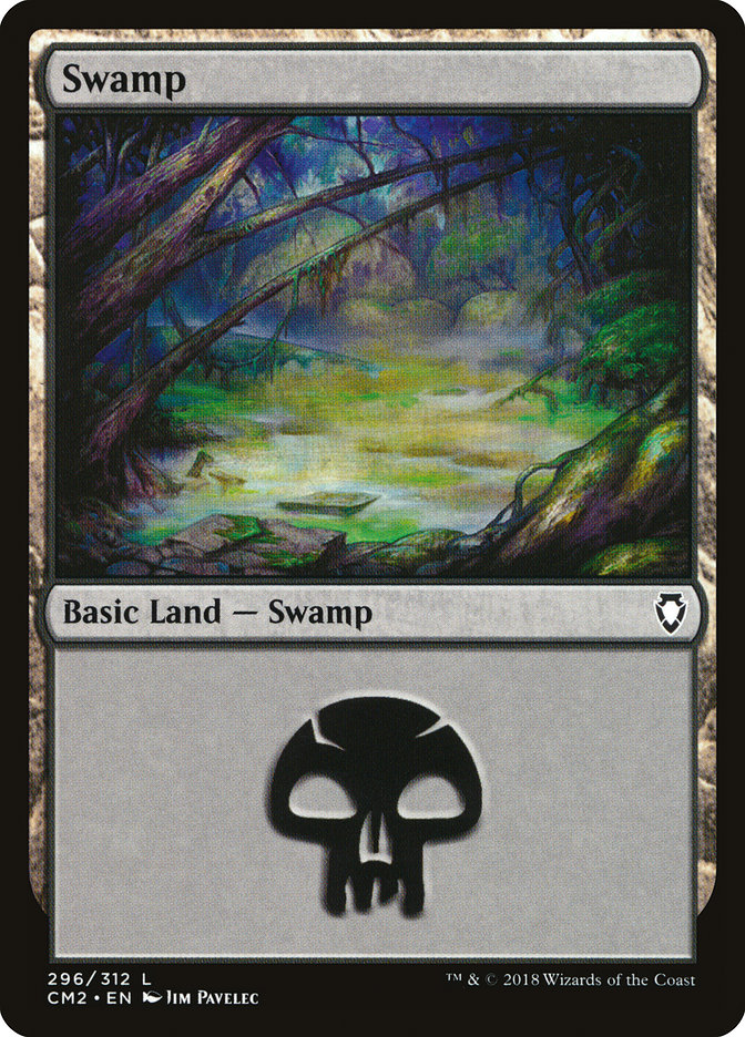 Swamp (296) card from Commander Anthology Volume II