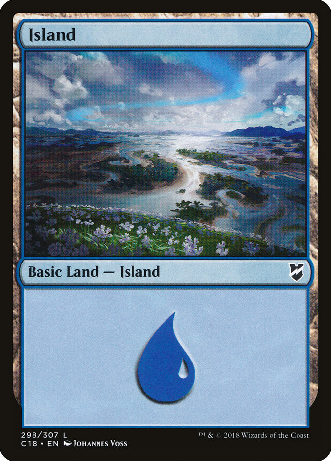 Island (298) card from Commander 2018