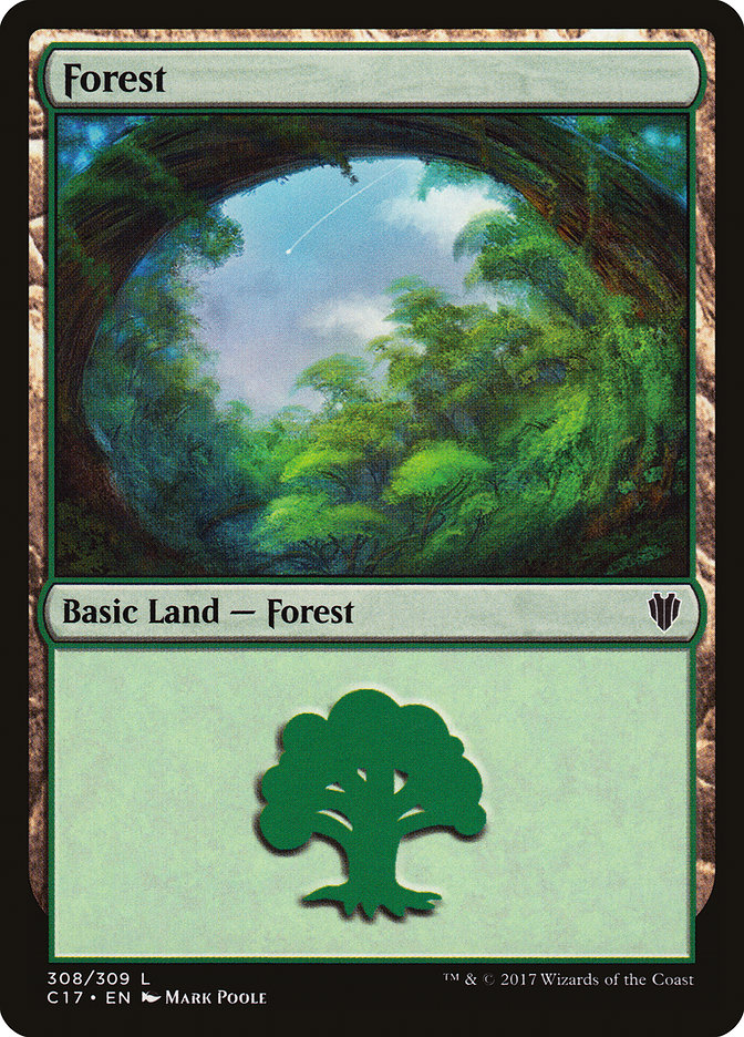 Forest (308) card from Commander 2017