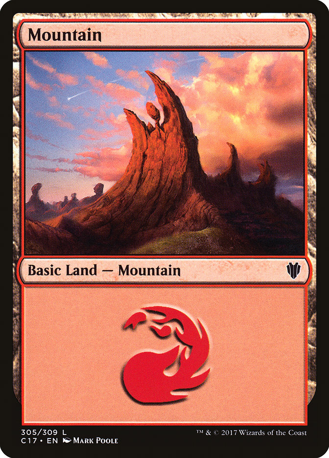 Mountain (305) card from Commander 2017