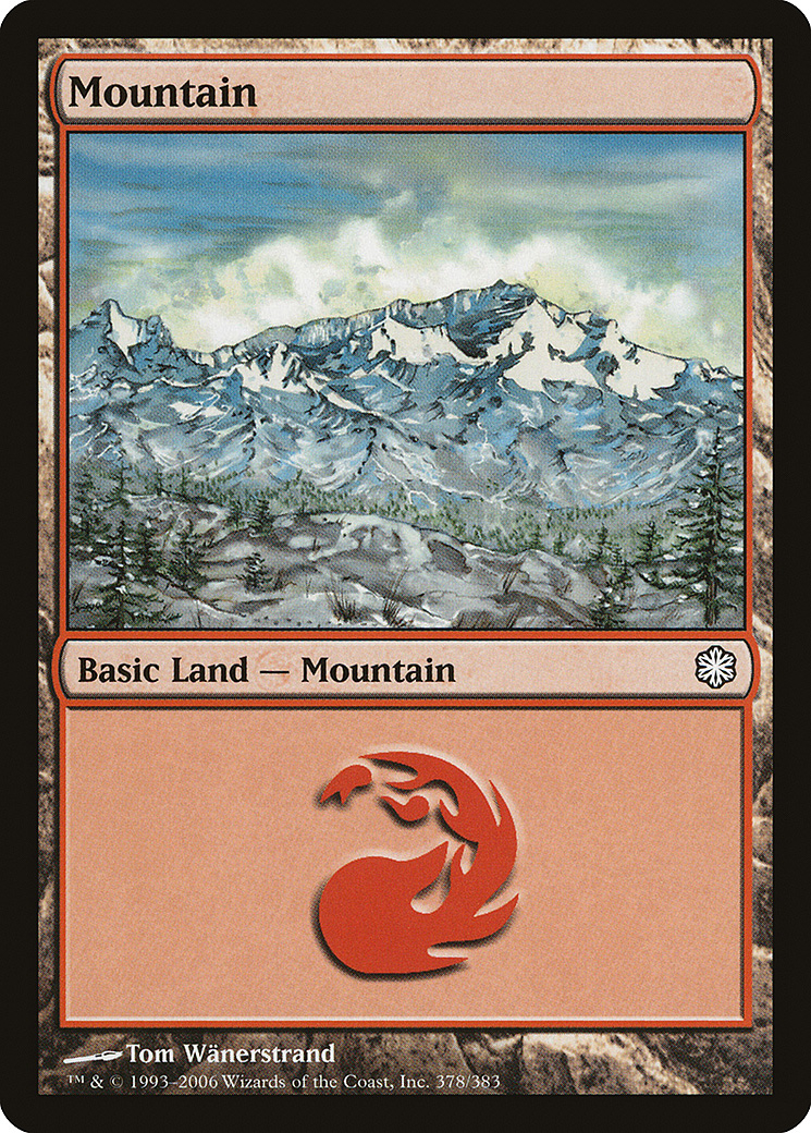 Mountain (378) card from Coldsnap Theme Deck Reprints