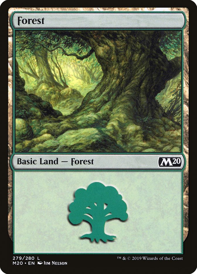 Forest (279) card from Core Set 2020