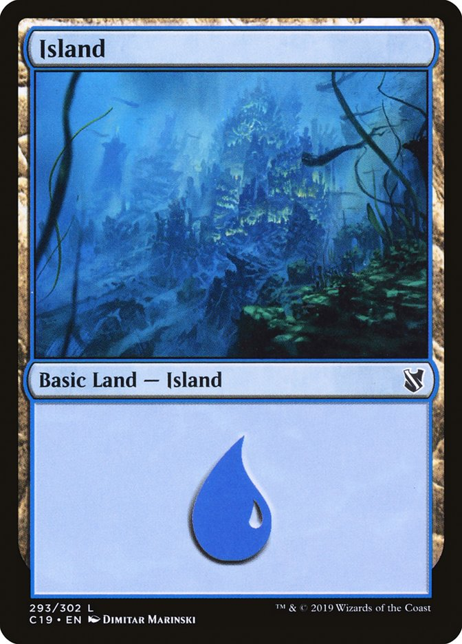 Island (293) card from Commander 2019