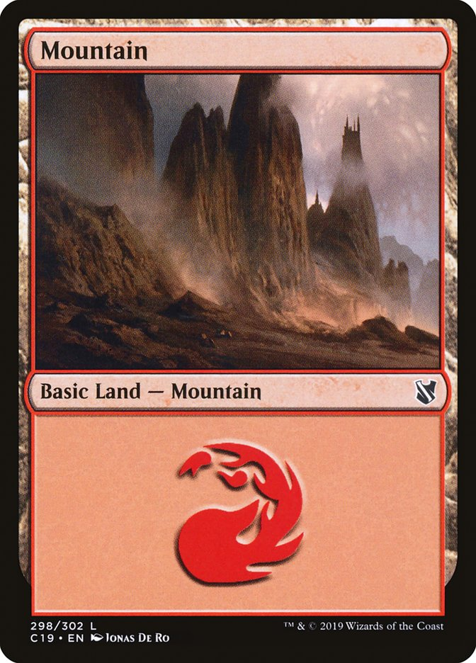 Mountain (298) card from Commander 2019