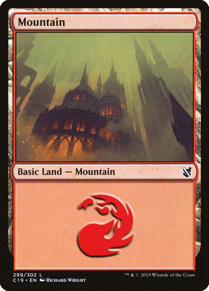 Mountain (299) card from Commander 2019