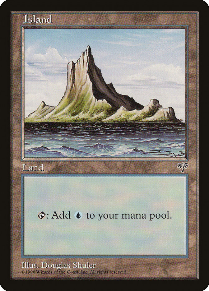 Island (Off-Center Spire) card from Mirage