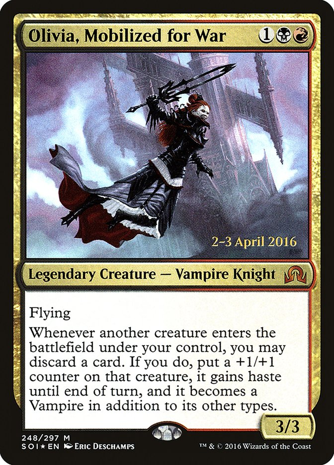 Olivia, Mobilized for War card from Prerelease Cards
